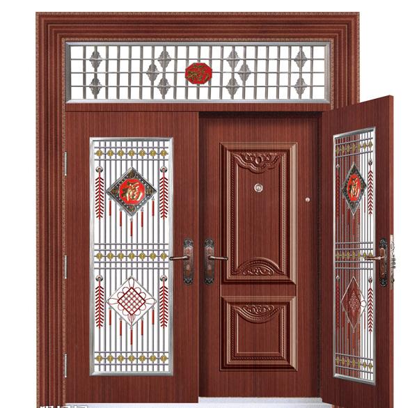 规则门、异型门尺寸的核算方式及公式:对开门(子母门)带亮窗