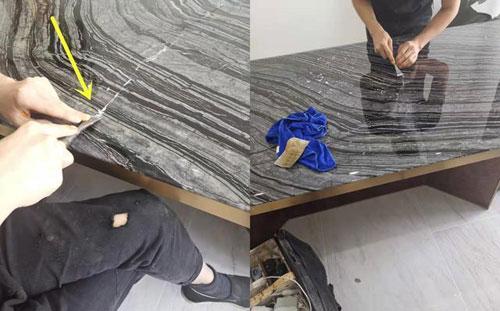 大理石桌面有裂缝修复步骤图4